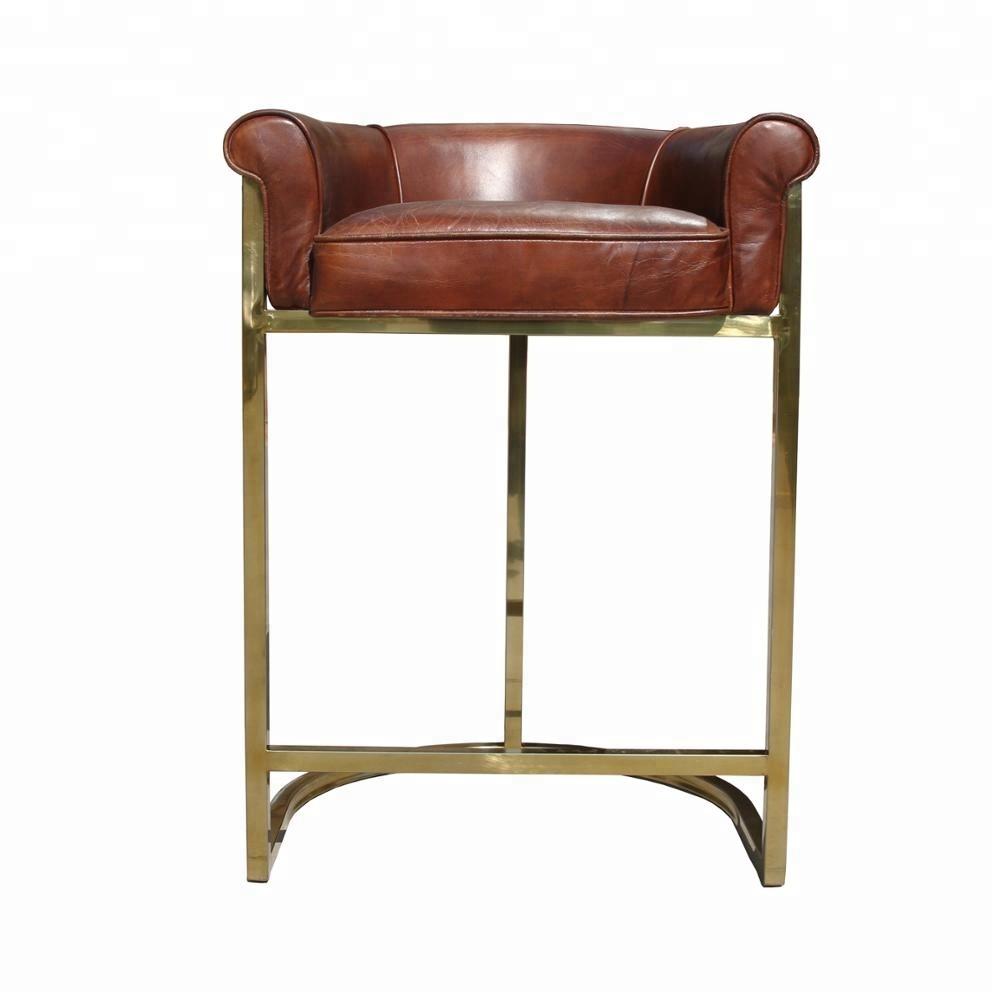 Bar Dthsqr Vintage Chaise Or En Cuir Acier Haute Inoxydable Tabouret hrdQts