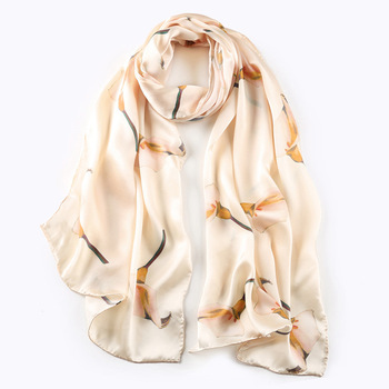 4b1acab856aa New Women Satin Floral Printed Designer pure silk scarves women s  neckerchiefs hijab shawl wholesale silk scarves