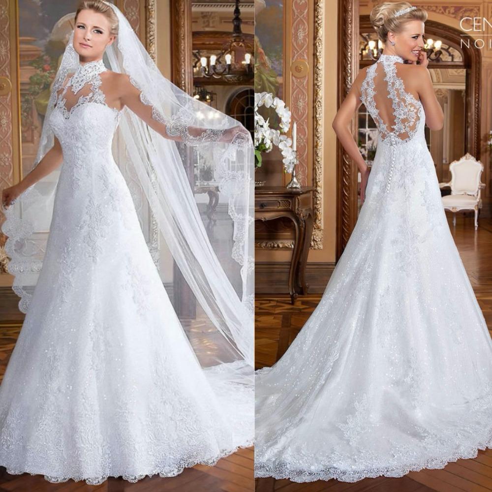 Lace Halter Wedding Gown: Wedding-Lace-Dress-2015-White-Halter-Sleeveless-vestidos