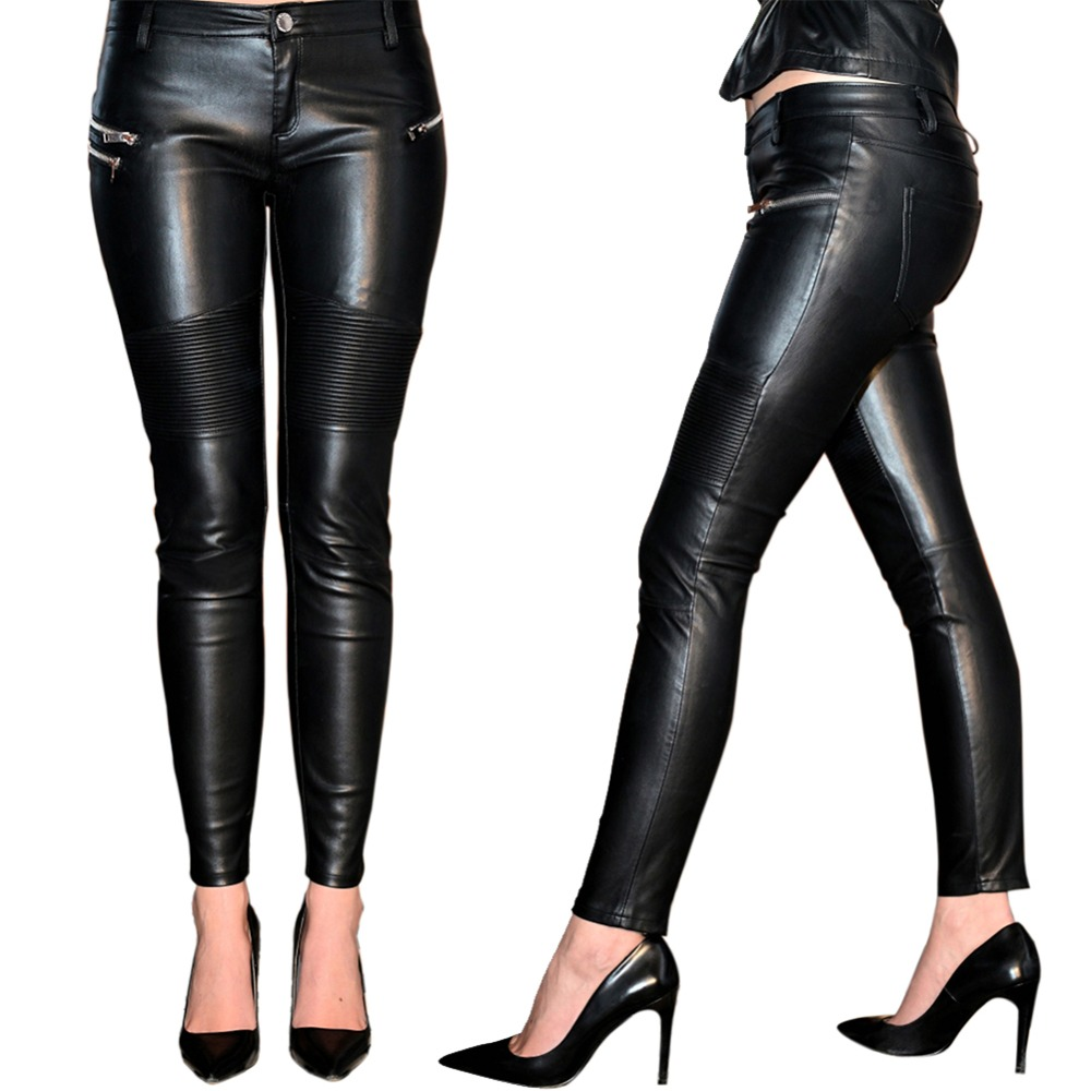 High-waisted imitation leather pants slim zip pencil pants black stretch pants