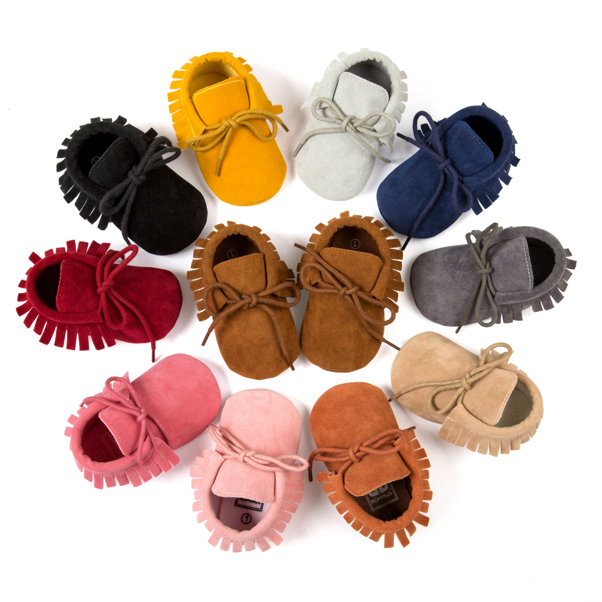 Free Shipping 2016 Fashion Lace up Tassel Suede Baby Shoes Moccasins Infants Baby Toddler Shoes Newborn
