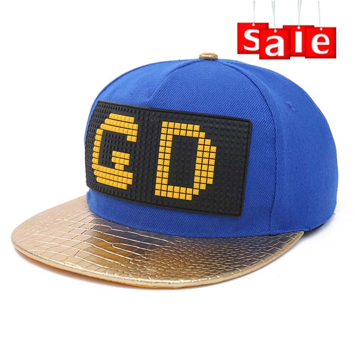 Custom leather brim cool black and blue snapback hats
