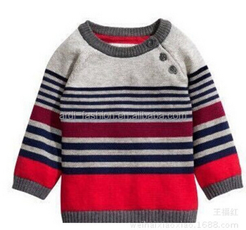 Raglan Sleeves Colorful Striped Hand Knit Baby Sweaters Buy Hand