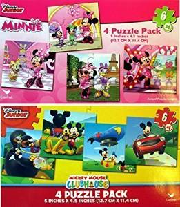 1336b91aa67595 Disney Jigsaw Puzzles for Kids - Mickey Mouse   Minnie Mouse 8 Puzzles (6  Pieces