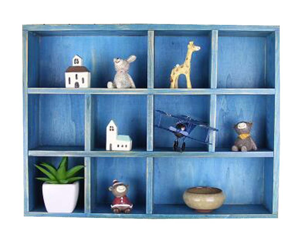 DRAGON SONIC Classical Wood Storage Shelves Storage Rack, Blue