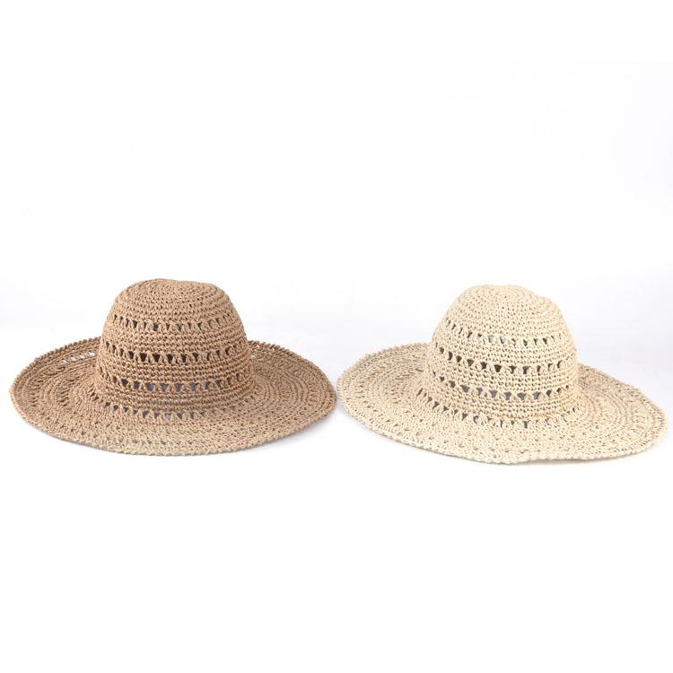 Hecho A Mano Portátil Verano Ala Ancha Playa Crochet Sombrero De ...
