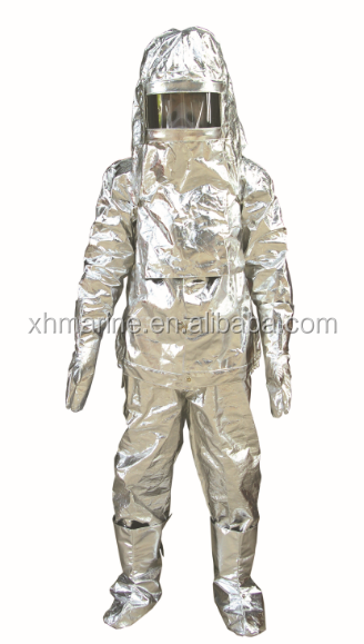 Aluminum foils fire fighting protective suit with boots