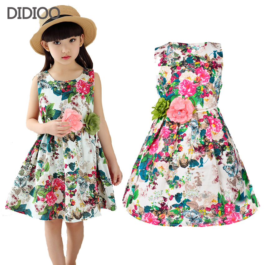 Kids clothing summer dresses for girls summer style girl dress floral print cotton birthday party sundress