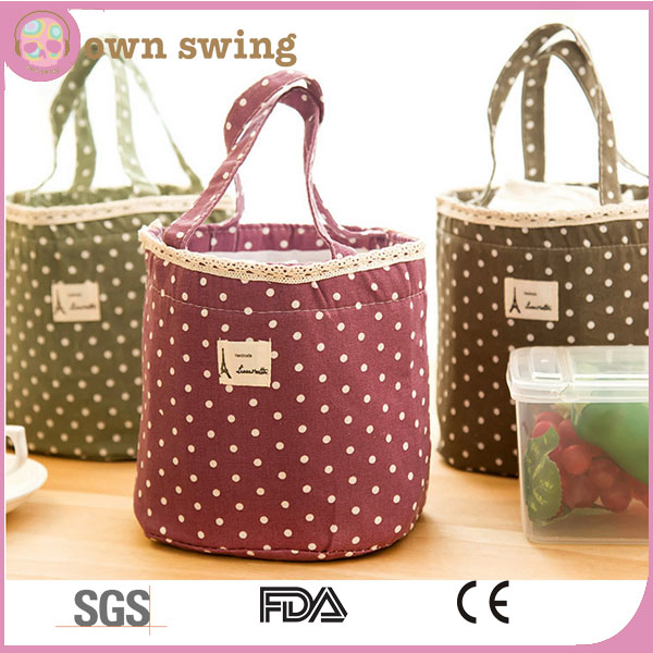 Cute Polka Dot Lace Thermal Insulated Drawstring Lunch Box/High Quality Tote Cooler Bag/Picnic Snack Portable Storage Lunchbag