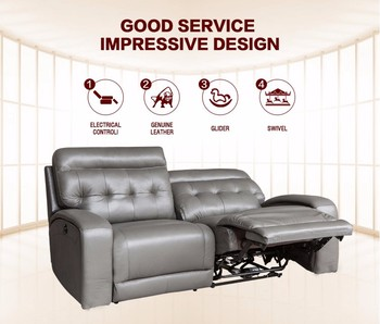 Cheap Price Leather Sofa Furniture Iran Genuine Leather Reclining Loveseat  Sofa
