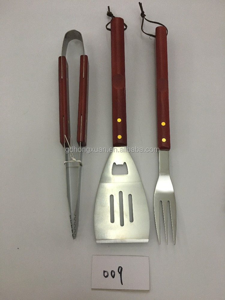 promotion gift 3pcs stainless steel 18/0 bbq tool set with wooden handle