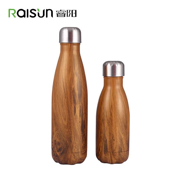 350 ml/500 ml Parede Dupla Cor De Bambu Eco Friendly Garrafa de Água de Aço Inoxidável Isolado