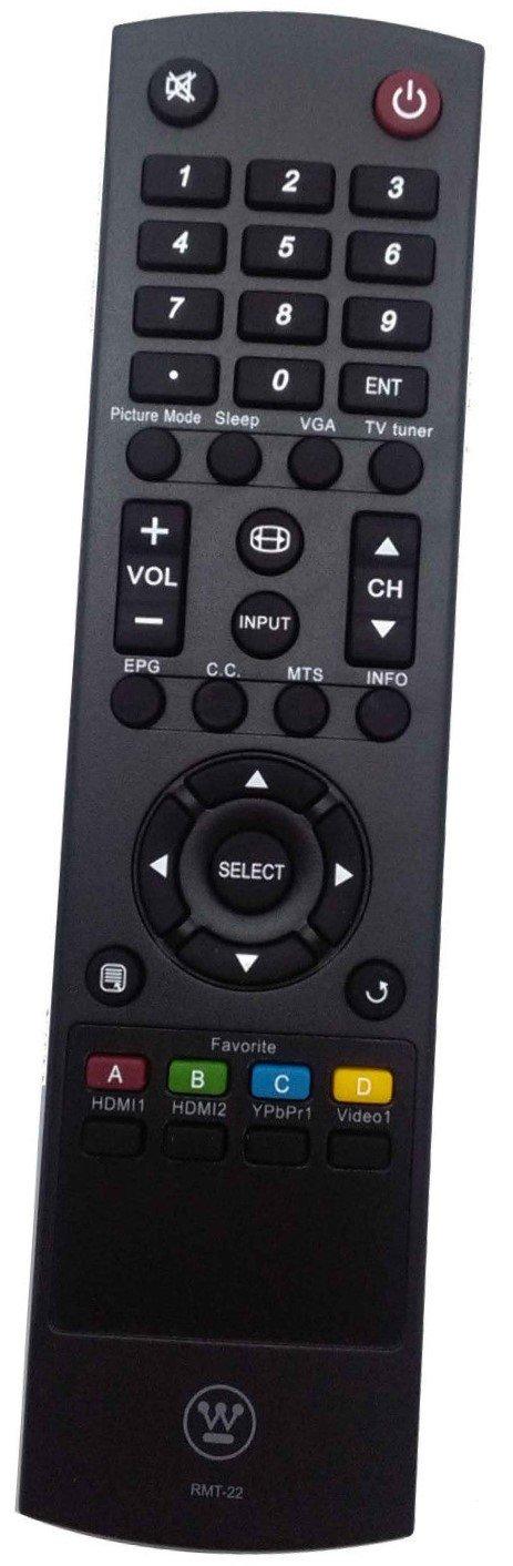 New Westinghouse RMT-22 RMT 22 Remote for WESTINGHOUSE TV EW32S5UW UW32SC1W UW32S3PW EW39T6MZ UW39T7HW UW37SC1W UW40T8LW UW46T7HW UX28H1Y1 RMT-11