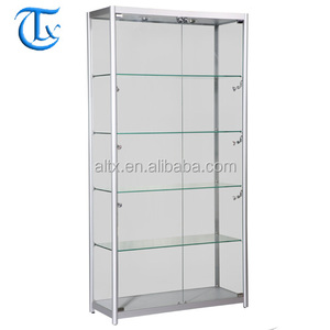 Custom size aluminum glass display showcase with led lights