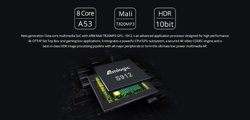 T8 Artı-2 Google Android 7.1 Amlogic S912 2G 16G 4 K Sekiz Çekirdekli Akışı TV Kutusu