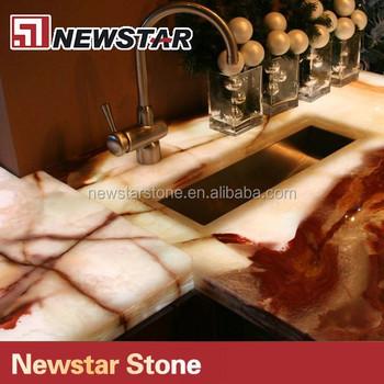 Internationale Qualität Naturstein Weiß Onyx Küchenarbeitsplatte ...