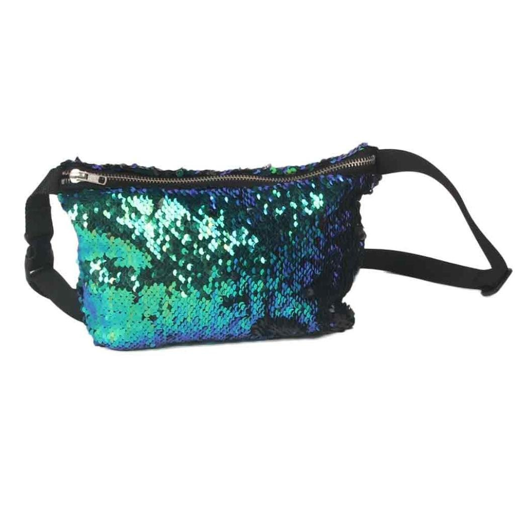 Casual Fanny Pack, Jhuivd Unisex Outdoor Sports Casual Double Color Sequins Chest Bag
