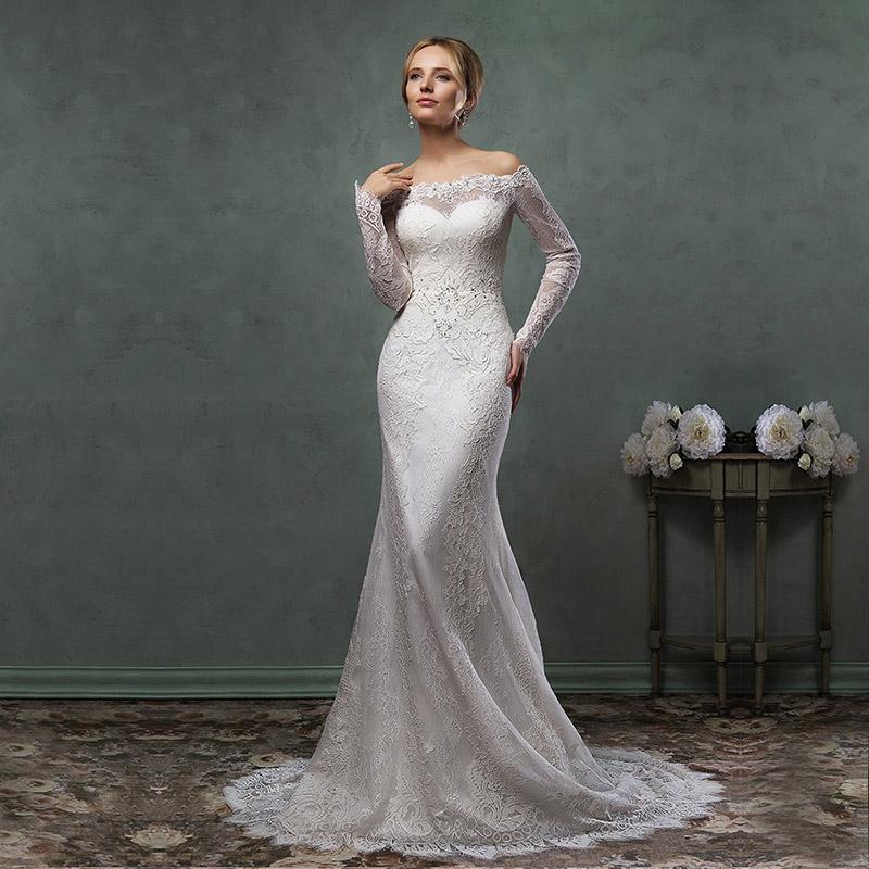 2015 New Elegant Full Long Sleeves Mermaid Wedding Dresses: Elegant 2016 Fashion Ivory Lace Illusion Beaded Full