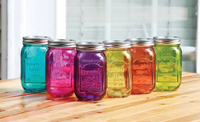 Multi Colored Glass Mason Jam honey Canning Jars with Metal Lids