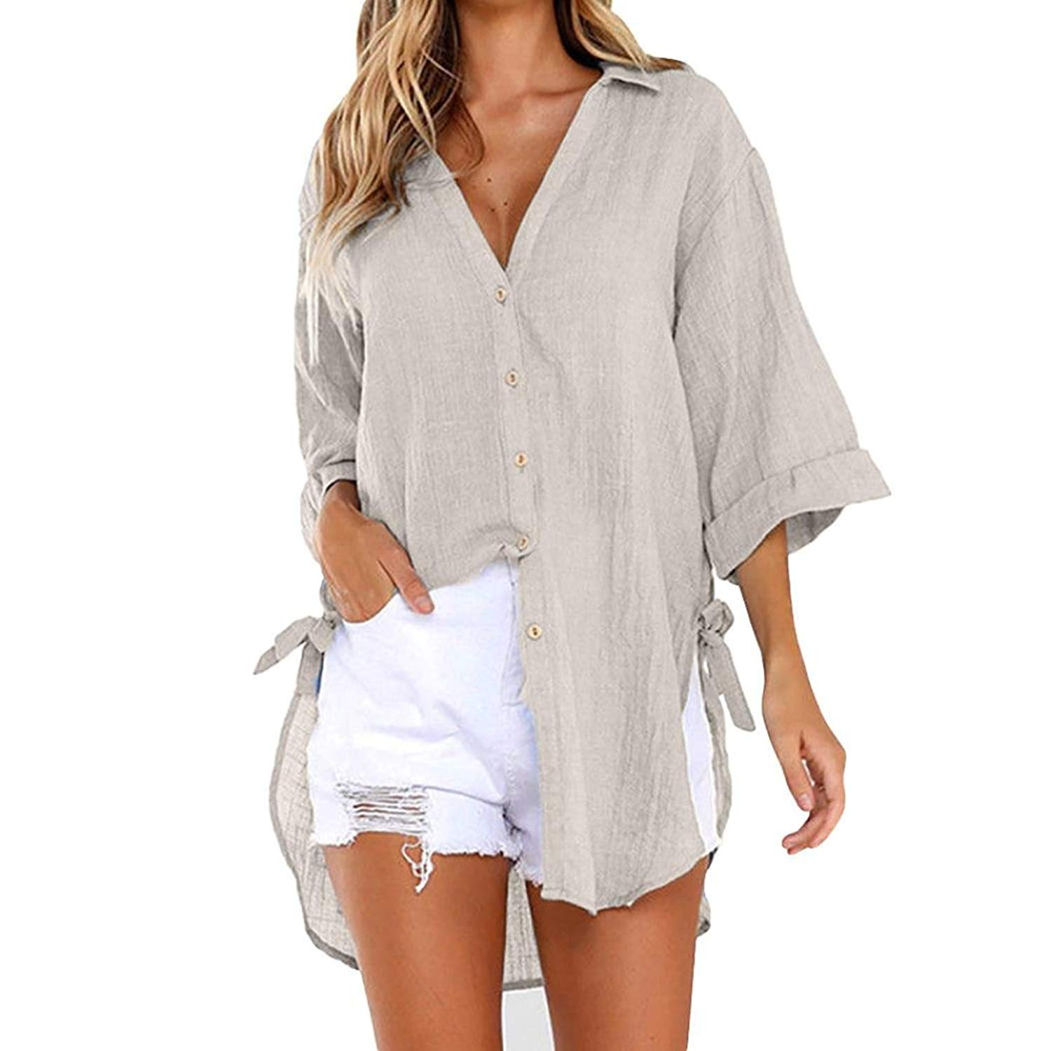 046ebefec18 Get Quotations · DEATU Womens Sexy V-Neck Long Shirt Dress Ladies Loose  Button Casual Tops T-