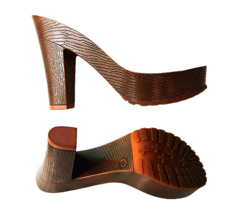 Simple Por Wood High Heels Sole