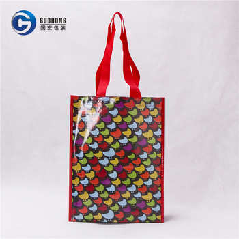 Promotion Advertising Gift Shopping Bag Laminated Woven Bag With Webbing Handle