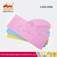 Fondant cake decoration 3D vivid peacock silicone lace mat mold