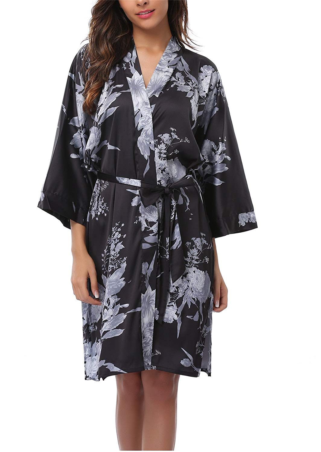 24a60ee7de Get Quotations · FADSHOW Satin Robes for Women
