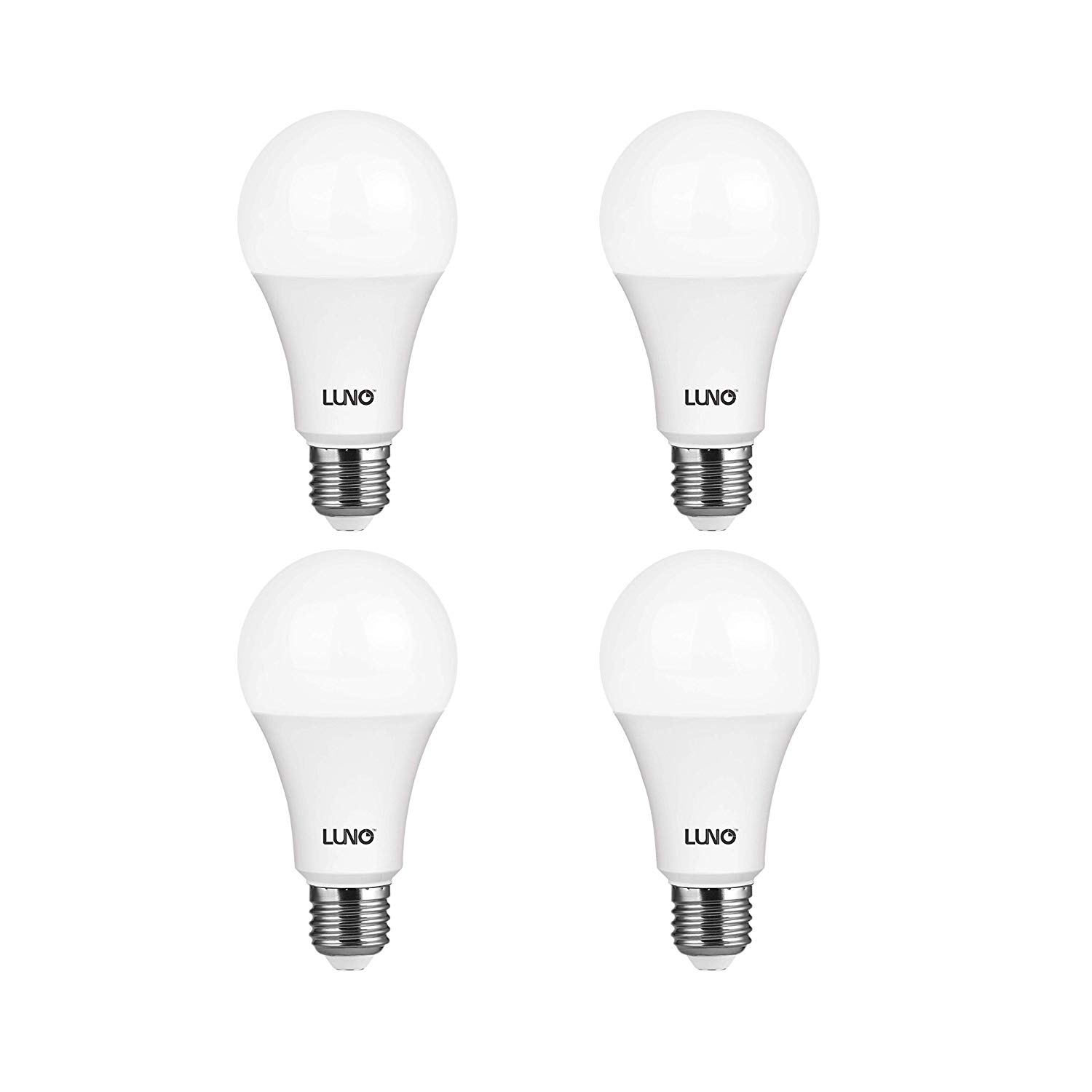 LUNO A21 Dimmable LED Bulb, 15W (100W Equivalent), 1600 Lumens, 5000K (Daylight), Medium Base (E26), UL Certified (4-Pack)
