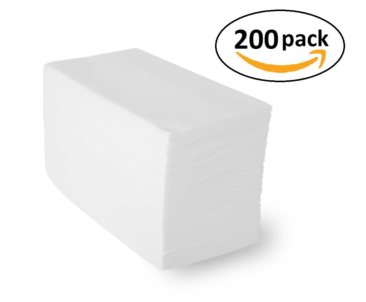 "Honey Bright Linen-Feel Guest Towels (200 Pack) White Disposable Cloth-Like Paper Hand Napkins, 12"" x 17"", Great for Guest and Bathroom Use"