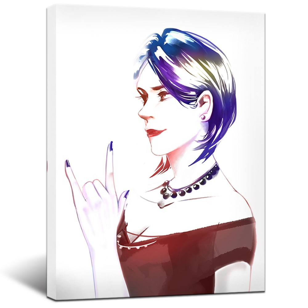 Fashion Women Art Print Rock and Roll Wall Decor Boy Girl Room Unique Anime Portraits Contemporary Art Beauty Salon Hair Salon