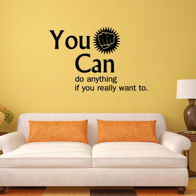 Vinyl Wall Stickers <font><b>Inspirational</b></font> Quotes You Can Do Anything Removable Decals for Living Room Sofa Decal Mural <font><b>Home</b></font> <font><b>Decoration</b></font>