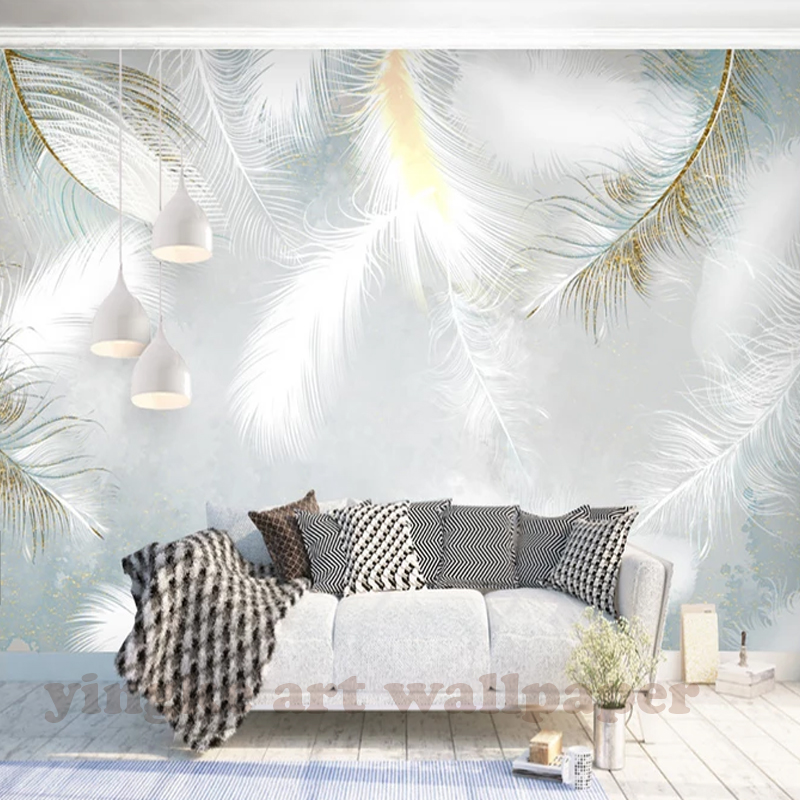 Custom 3d Photo Wallpaper Modern Simple Hand Painted Watercolour Feather Wall Mural Wallpapers For Living Room Bedroom De Parede Buy 3d Nude