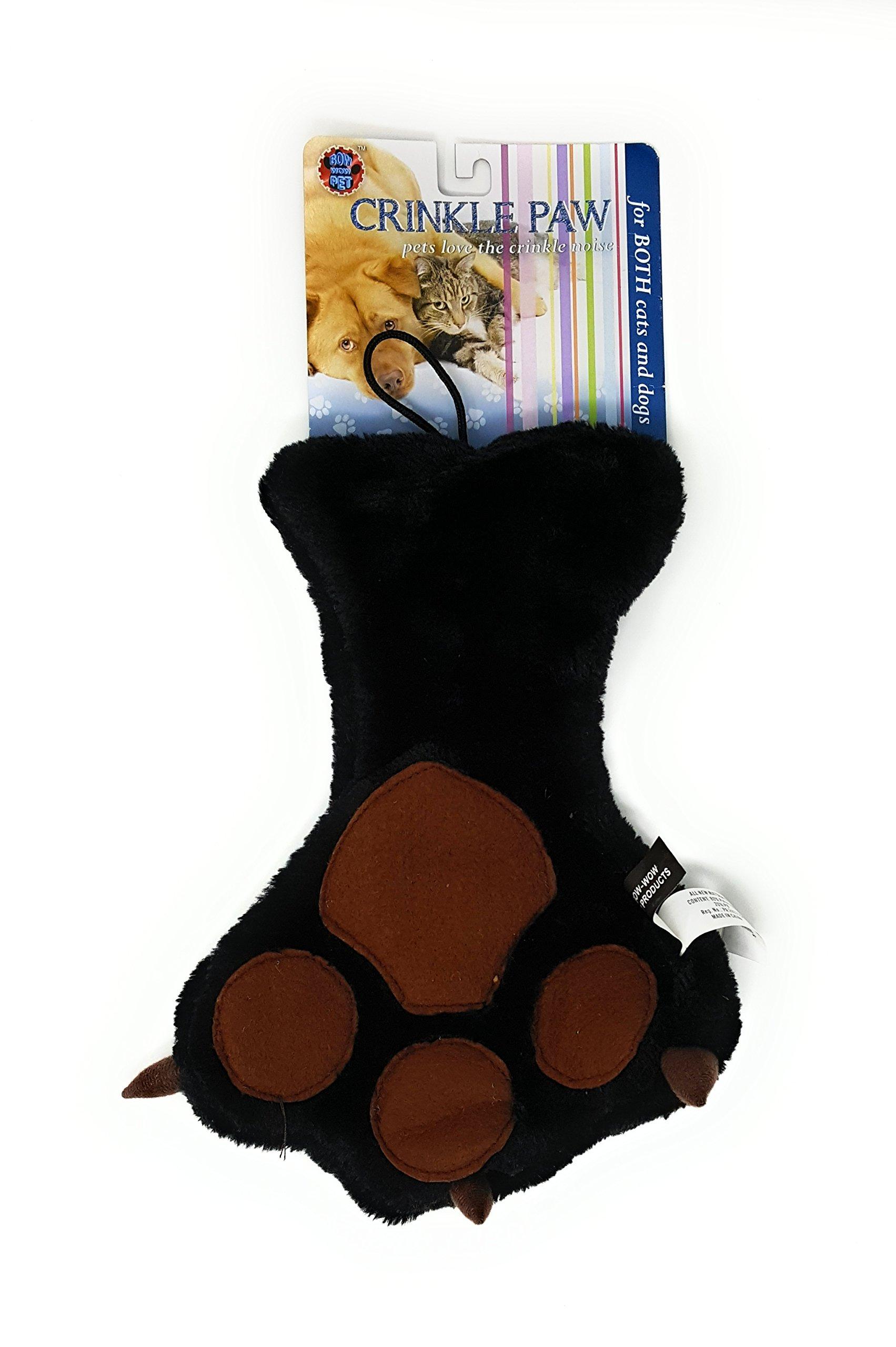 Bow Wow Pet Crinkle Paw Plush Dog Toy (BLACK)