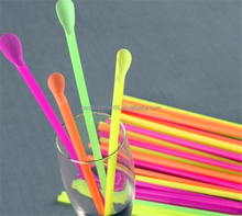 plastic drinking straw with spoon/plastic Spoon Straws