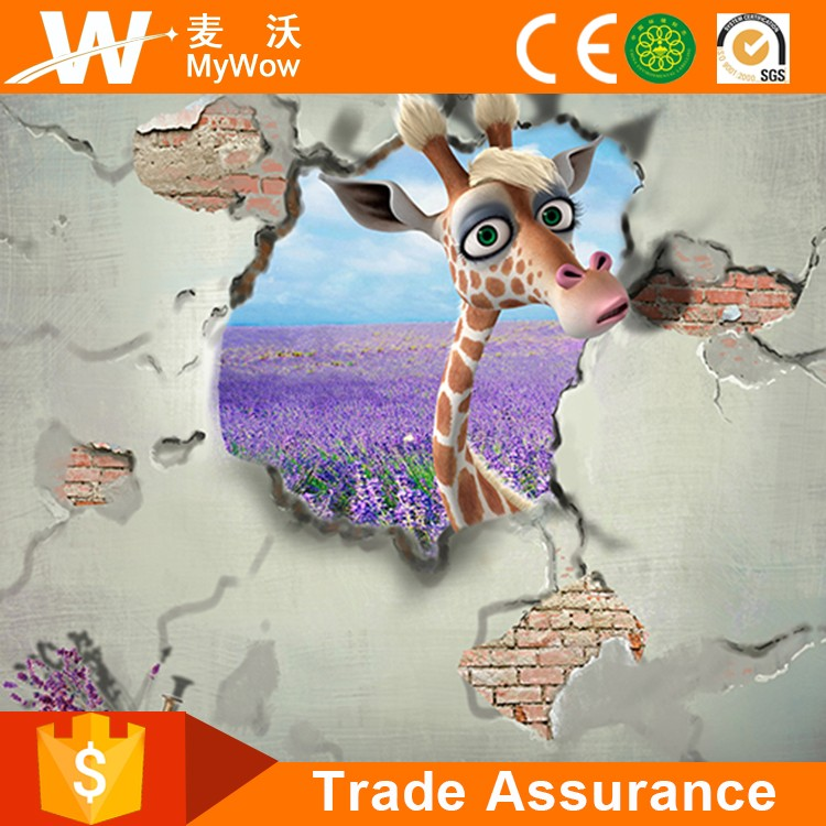 [YL-T011] Wall Mural Animal United 3D Giraffe Wall Paper