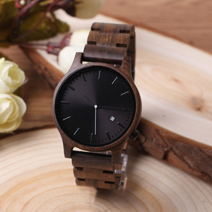 Luxury hot custom logo mens watch with health waterproof black sandalwood japan move hand wood watch manufacturer for mens watch