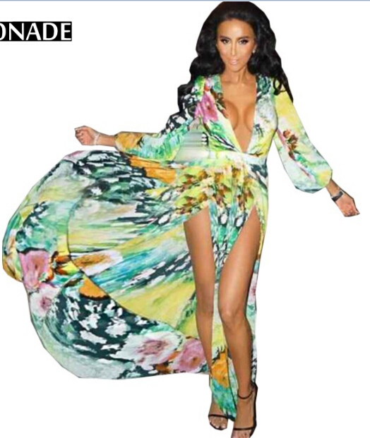 cd86592ee58f Online Shop Green & Yellow Wrap V Plunge Neck Long Sleeve Multi Color Tropical  Floral Print