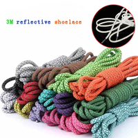 High Quality Custom Round Polyester Reflective Shoelaces 3M Reflective Shoe laces yeezy shoelaces