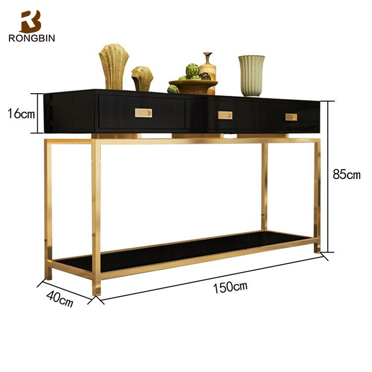 Modern vintage black lacquer metal furniture wrougth iron frame lowes  mirrored glass hallway console table wooden