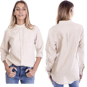 b2431353f311 2018 Summer Women Linen Cotton Button-down Mandarin Collar Shirt for Women