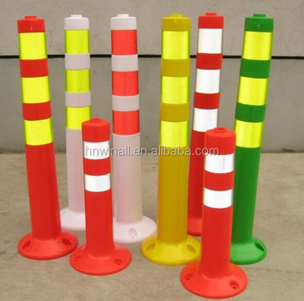 Outdoor plastic rubber base warning sign post