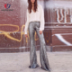 women wear casual sequin embroidered flared hemline long pant High Waisted floor length wedding prom back zip closure long Pants