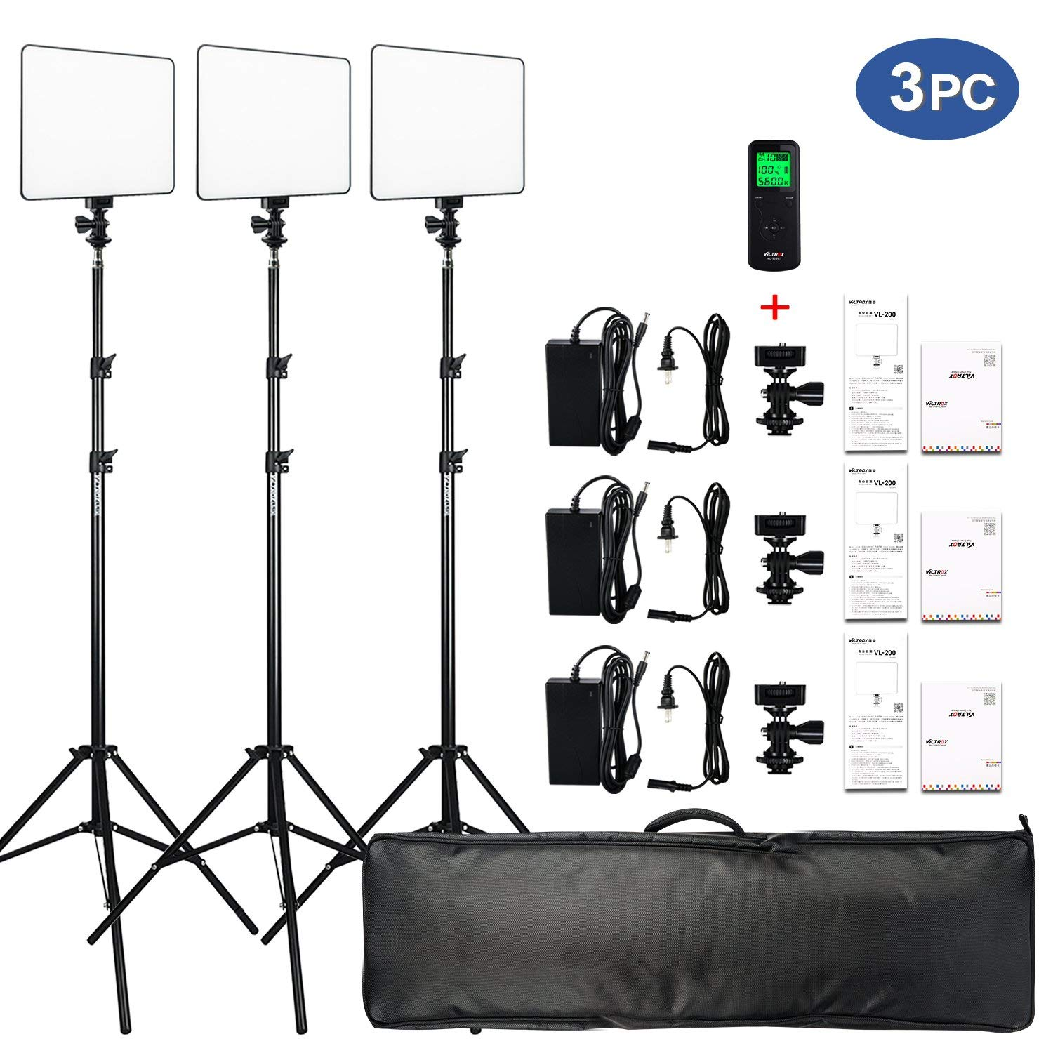 VILTROX VL-200 3 Packs Ultra Thin Dimmable Bi-color LED Video Light Panel Lighting Kit includes: 3300K-5600K CRI 95 LED Light Panel with Hot Shoe Adapter/Light Stand/Remote Controller and AC adapter …