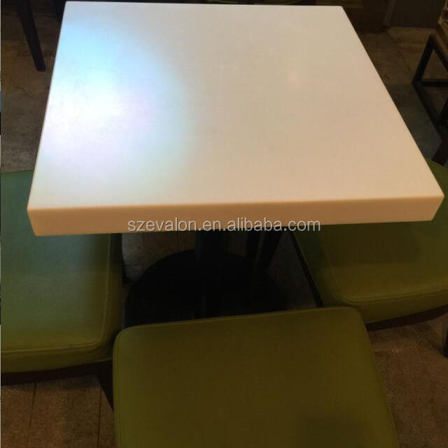 Easy Clean Glacier White Imitation Marble Table Top,solid Surface  Restaurant Dining Table With Chairs