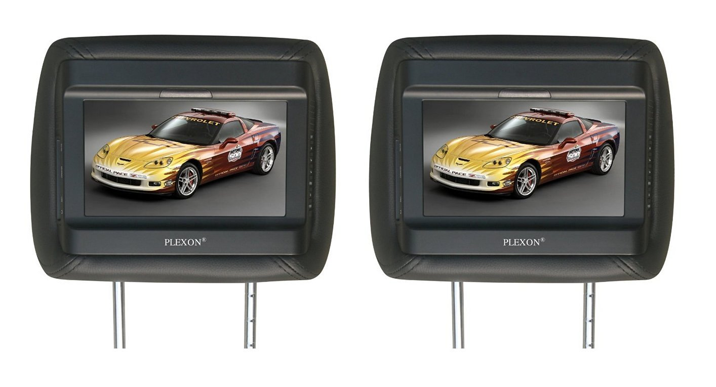 """Plexon® 7"""" LCD Monitor Car Headrest, Sold As 1 Pair (Black), or Car/Truck/SUV -Pair of Headrests with Built-In 7"""" VIDEO Monitors"""
