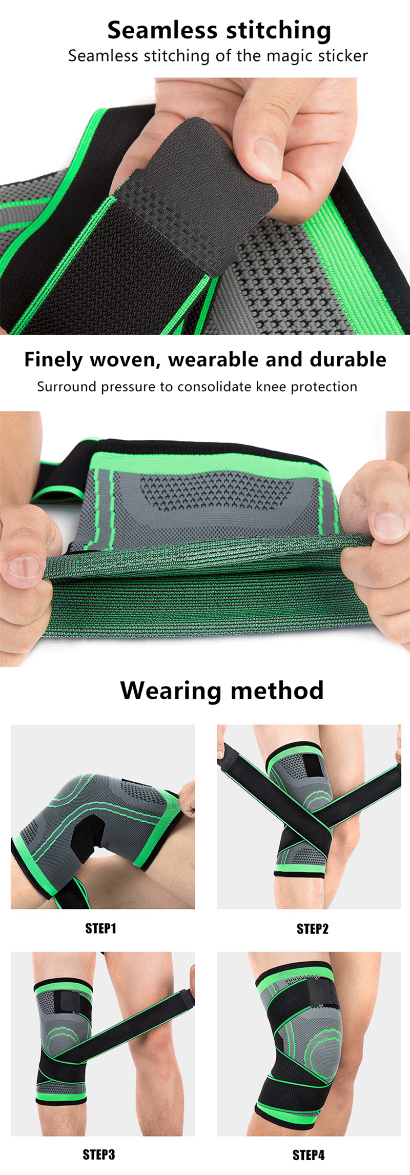 3D Adjustable Knee Brace Bandage Knee Support Basketball Volleyball Knee Sleeves