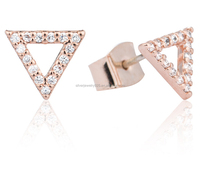 Rose gold plated Over Silver Open Triangle Cut out Stud earrings