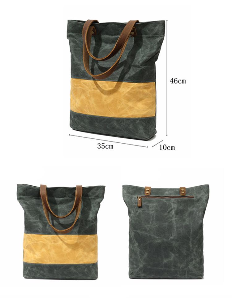 New design ECO friendly vintage brand waxed canvas water proof ladies women satchel handbag tote shoulder hand bag