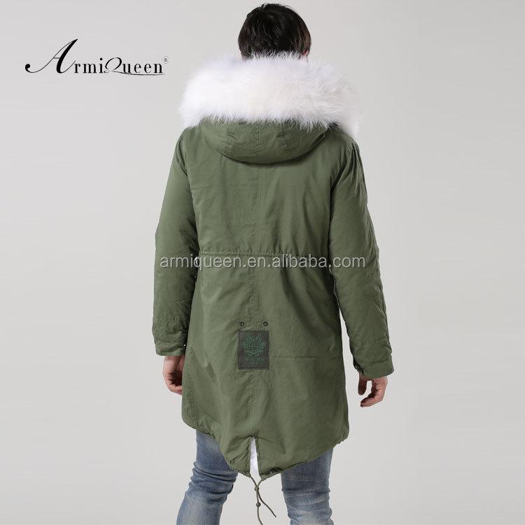 Manteau homme vert fourrure